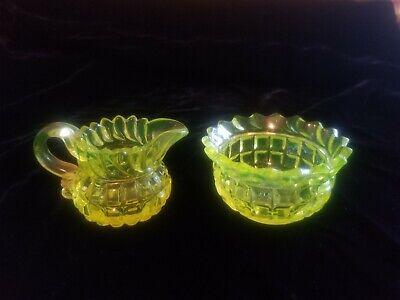 Yellow Vaseline Uranium Molineux Webb Block glass creamer pitcher sugar bowl
