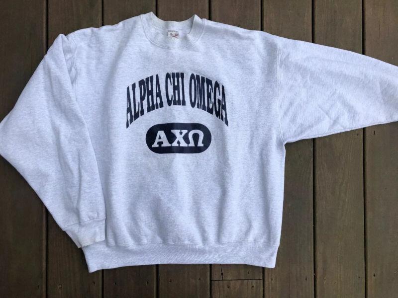 Vintage Alpha chi omega Fruit Of The Loom Super Cotton Heavy Sweatshirt Adult XL
