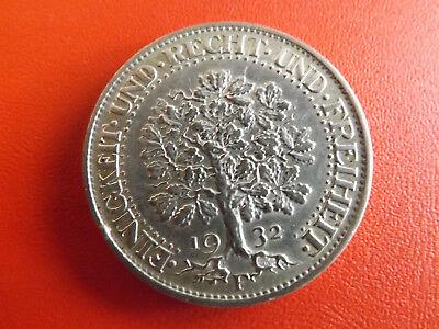 * Selten! Weimarer Republik 5 Reichsmark Silber 1932 F. *Eichbaum  (Schub13)