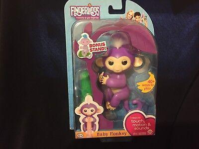 Genuine Wowwee Mia Fingerlings Baby Monkey Interactive Toy  Purple Free Shipping