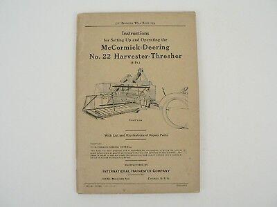 Vtg Mccormick Deering No. 22 Harvester Thresher International Harvester 1937