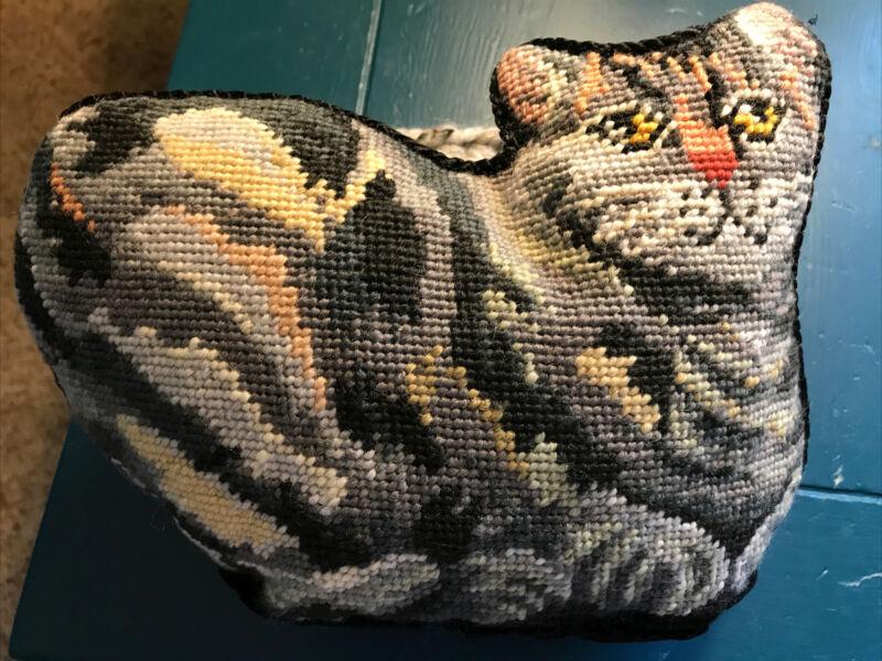 Cat Shaped Needlepoint Pillow Gray Tabby Wool