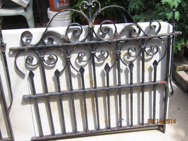 "Antique Cast Iron Gate Rod Iron Original 38"" X 40"""