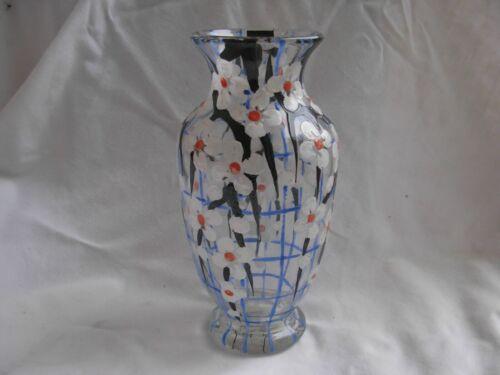 ANTIQUE FRENCH ENAMELED GLASS VASE,ART DECO,ADRIEN MAZOYER,1930s YEARS.