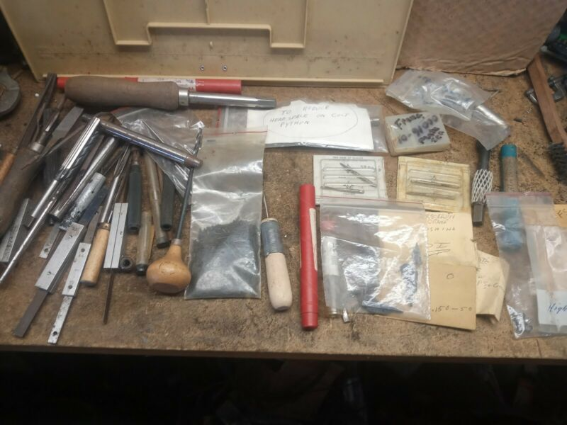 LOT OF GUN SMITHING TOOLS COLT,S&W,RUGER AND MORE OVER 150 PIECES AND ADDING
