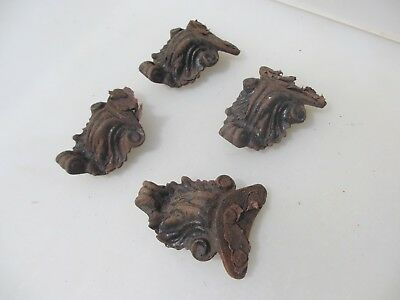 Antique Iron Furniture Feet Hardware Rococo Baroque Leaf Victorian Old x4