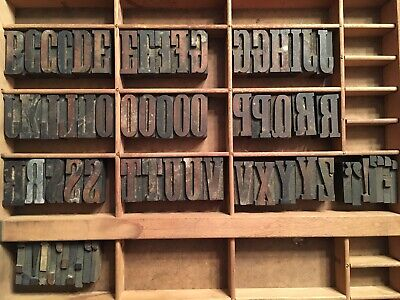 Antique Wood Letterpress Printing Press Type Block Letters Typeset Blocks 66 Pc