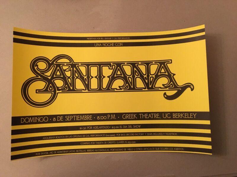 Santana Poster 1991 Yellow Original 1st Graham Greek Berkeley Carlos Fillmore