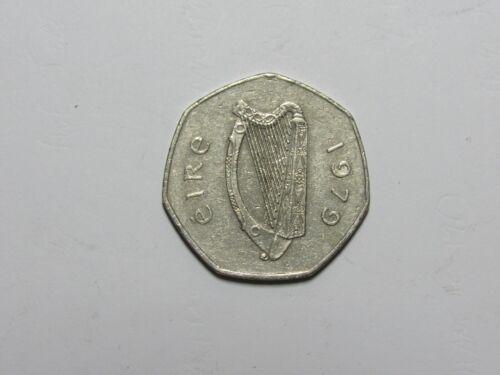 Old Ireland Coin - 1979 50 Pence Woodcock Bird - Circulated