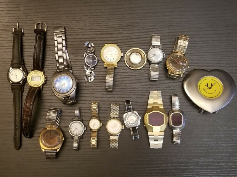 Lot of 15 Mixed Untested Watches for Parts Repair Resale or Wear