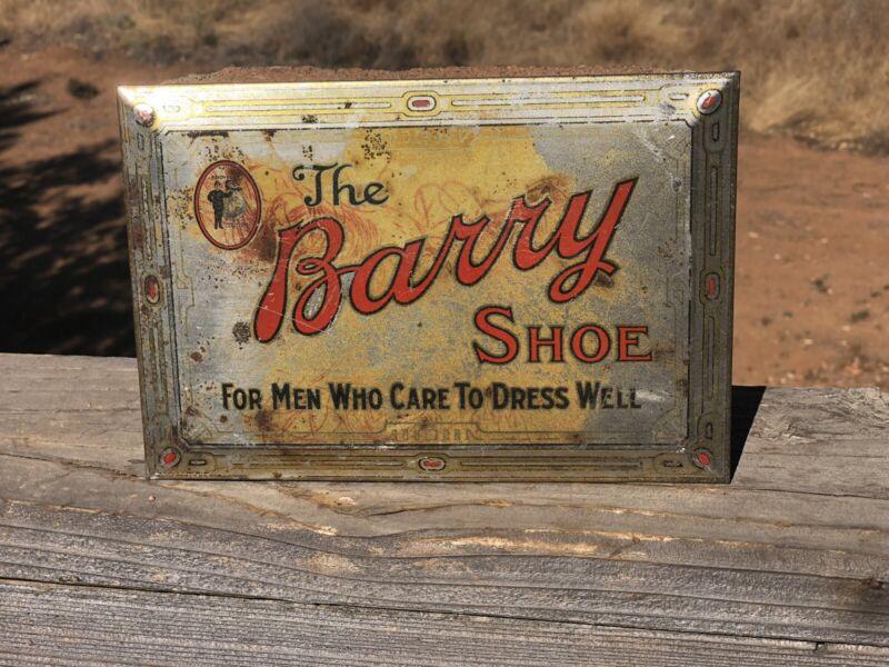 """Antique THE BARRY SHOE Sign Tin Mens Dress Shoe 9""""x6""""(D1)"""