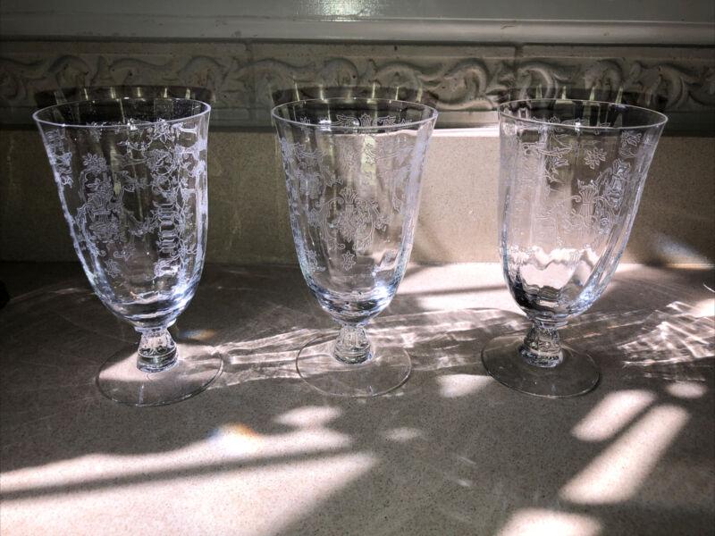 "Fostoria Iced Beverage Glasses In ""Navarre"" Clear"