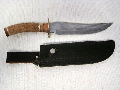 "Custom MARBLES Damascus Curved Antler Fixed 8 3/4"" Blade Knife w/Sheath"