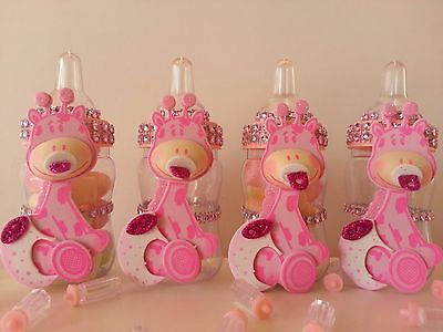 12 Giraffe Fillable Bottles Baby Shower Game Favors Prizes Safari Jungle Noah's