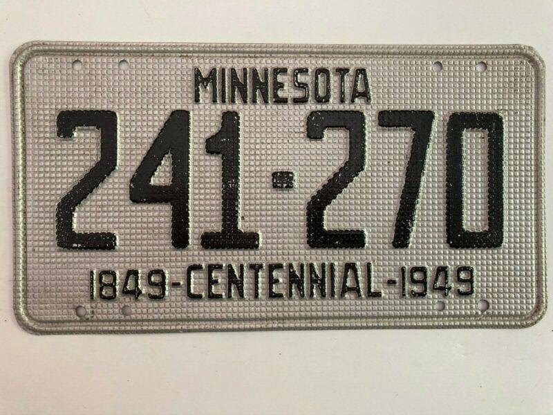 1949 Minnesota License Plate Waffle Centennial All Original