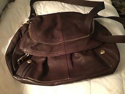 B. Makowsky brown leather large crossbody messenger bag NWOT