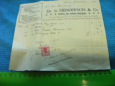 New Zealand  Farming Supplies Receipt from 1911, Milburn,NZ.Large size.