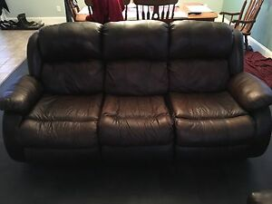 Real leather brown sofa and chair