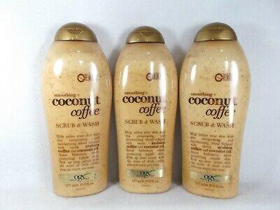 3 Pack OGX Smoothing Coconut Coffee Scrub Body Wash Shower Gel Sulfate (Body Scrub Shower Gel)