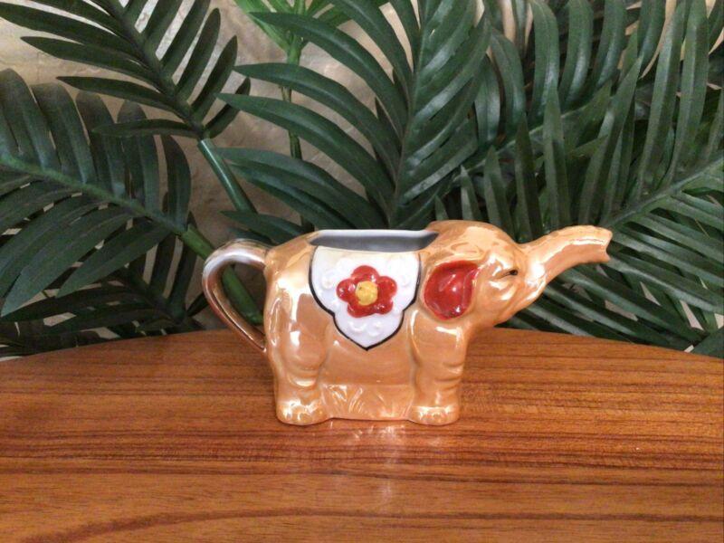 Vintage Lusterware Gold Elephant w/Floral Motif Porcelain Creamer