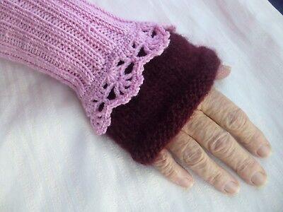 Pulswärmer in rosa fingerlose Handschuhe Stulpen Handgestrickt Unikat  ()