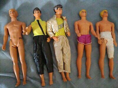 Lot of 5 80s Mattel Barbie friends Ken and Derrick Dolls + accessories