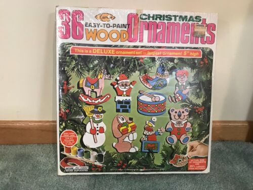 """Vintage 1978 Arrow Christmas 36 Ornament Kit Easy to Paint New SEALED Up to 5"""""""