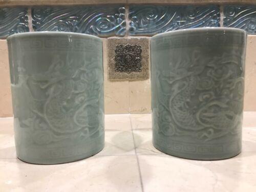 Chinese Longquan Brush Pot Celadon Glazed Fine Carved Dragons (RARE)