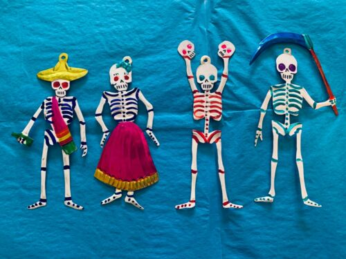 Set/4 Day of the Dead Skeletons Tin Ornaments Wall Art Mexican Handmade Painted