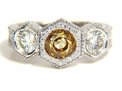 GIA 2.30CT FANCY YELLOW BROWN DIAMONDS RING 18KT EDWARDIAN CROWN DECO+ 10