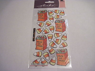 Scrapbooking Crafts Stickers Stickos Halloween Treat Bags Candy Corn - Halloween Craft Goody Bags