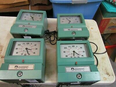 Four Time Clocks Acroprint Time Recorder 125 Nr4 Industrial