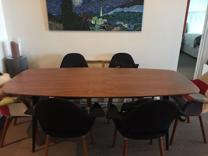 Dining Table - modern walnut and black metal