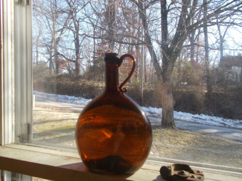 OPEN PONTIL 1850s CHESTNUT WHISKEY FLASK WITH DRIPPY APPLIED HANDLE SHINY NICE