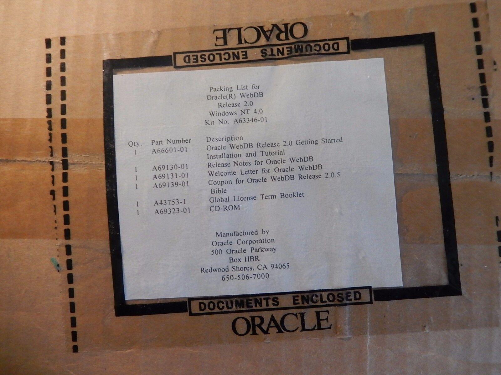 Vintage software Oracle WebDB Release 2.0
