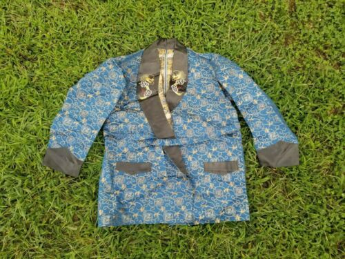Vintage men Asian blue silk dragon embroidery smoking souvenir robe jacket