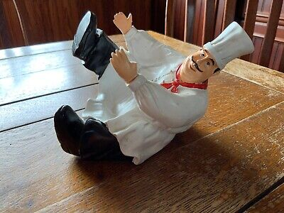 Chef Laying Down Decorative Wine Bottle Holder Kitchen Bar Decoration (used) Chef Wine Bottle Holder
