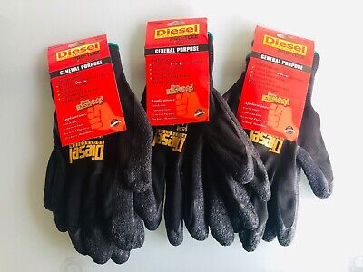 3 Pairs Black Diesel Pro-tekk Latex Grip General Purpose Work Gloves S M L Xl