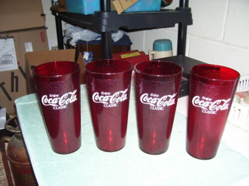 Vtg Lot of 4 Enjoy Coca Cola Classic Red Plastic Tumbler Cup 24 oz Restaurant