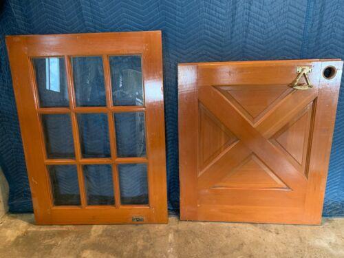 "Vintage Antique Architectural Salvage Half-Glass & Solid Wood 32"" Dutch Door"