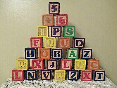 VINTAGE~ WOOD ALPHABET BLOCKS ~ Set of 28 ~ Multi-Colored ~ Learning Play, Decor