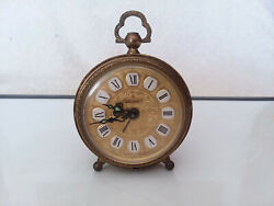 Vintage LINDEN wind-up alarm clock with golden filigree