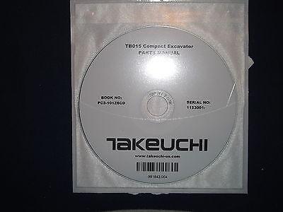 Takeuchi Tb015 Compact Excavator Parts Manual Book Cd