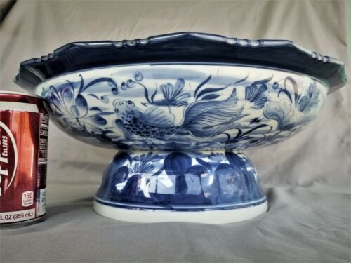 """Koi Chinese Blue White Tazza Footed Dish Bowl Porcelain Compote 16"""" Centerpiece"""