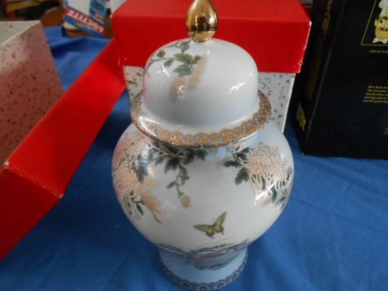 Vintage Japanese KYOTO Hand-Painted Ginger Jar with Original Box vase urn