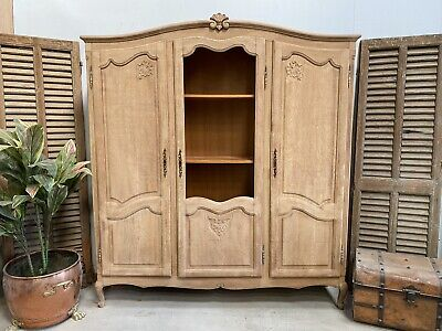 Vintage French Cabinet/ Sandblasted Shabby chic style/ Bookcase