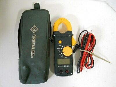 Greenlee Cm-600 Cat. Iii 600v Clamp On Ac Dc Multi- Meter W Leads Case