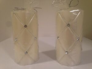 2 NEW CRISSCROSS 3x6  RHINESTONE & PEARL FANCY PILLAR CANDLES