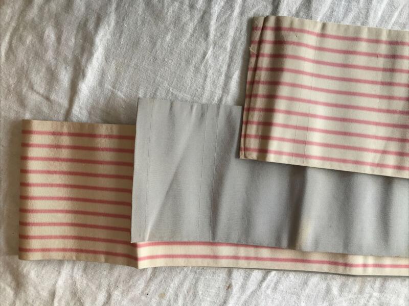 Vintage Obi Japan Japanese Sash Stripe Grosgrain Texture Pink Cream Grey
