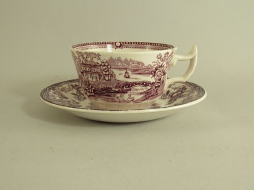 Royal Staffordshire Clarice Cliff Tonquin Plum Tea Cup And Saucer